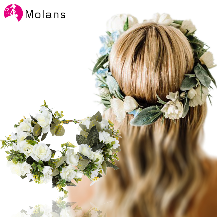 Molans Bridal White Rose Flower Crowns Blue Pink Stimulated Floral Garlands Sage Green Eucalyptus Flower Crown Greenery Wreaths