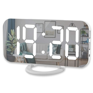 Reloj despertador Digital, pantalla Led grande De 6 pulgadas con puertos De cargador Usb duales modo atenuador automático función De repetición fácil, función De espejo moderno
