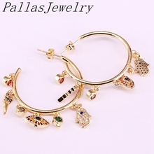 3Pairs New Fashion Gold Color Cz Micro Pave Rainbow Zirconia Metal Circle Stud Earrings For Women Girls