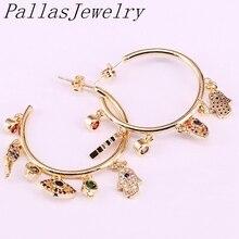3Pairs New Fashion Gold Farbe Cz Micro Pflastern Regenbogen Zirkonia Metall Kreis Stud Ohrringe Für Frauen Mädchen