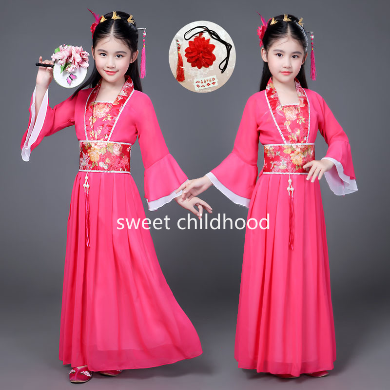 Girl Vintage Dress Chinese Han and Tang Children Costume Party Dresses Cosplay