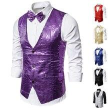 Дропшиппинг Модные мужские Блестящие Блестки Украшенные шикарные вечерние костюмные жилеты для ночного клуба Homme сцена для певцов Perfomers