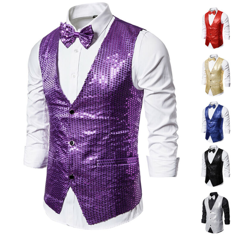 Drop shipping Fashion Men Shiny Sequin Glitter Embellished Classy Nightclub Party Suits Vests Homme Stage For Singers Perfomers