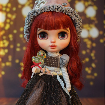ICY 19 joint blyth doll with makeup face white skin Red curly charming toot big eyes Long eyelashes Princess doll with 19 joint