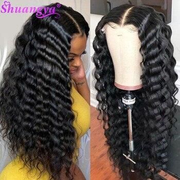 Peluca de encaje transparente, peluca brasileña suelta de onda profunda, peluca Remy 13x4 de encaje frontal, pelucas de cabello humano de densidad 180, peluca de cabello humano Pre desplumada