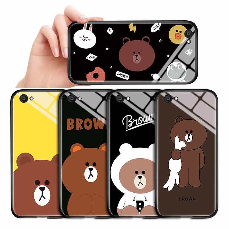 Kartun Line Brown Bear Soft Edge Glossy Case Tempered Kaca Back Cover Casing For Vivo Y85 Y91 Y91C Y93 Y95 y97 Y11 2019 Z1 V9
