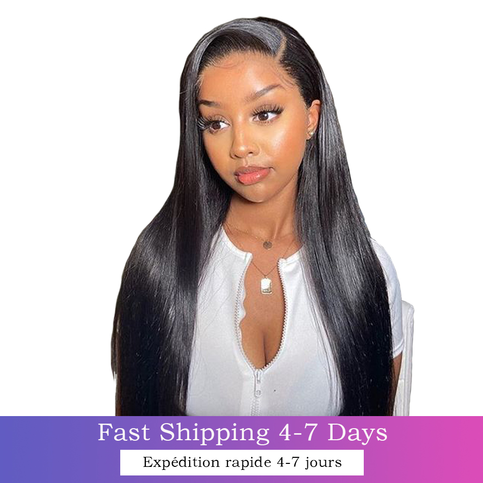 4x4 Lace Closure Wig Straight Virgin Hair Wigs Swiss Lace Frontal 8-30inches 13x4 Wigs Baby Hair  Wigs 1