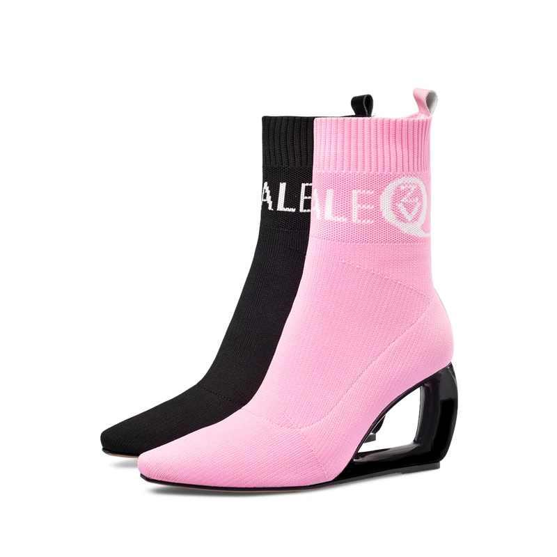 BAĞLANTı KÖPRÜSÜ marka kadın patik örme yün streç çizmeler sonbahar kış sevimli pembe moda siyah içi boş yüksek topuklu kadın ayakkabısı 43CN