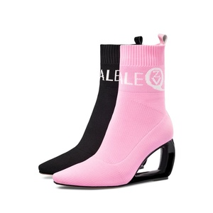 Image 4 - ZVQ brand woman booties knitting wool stretch boots autumn winter cute pink fashion black hollow high heels womens shoes 43CN