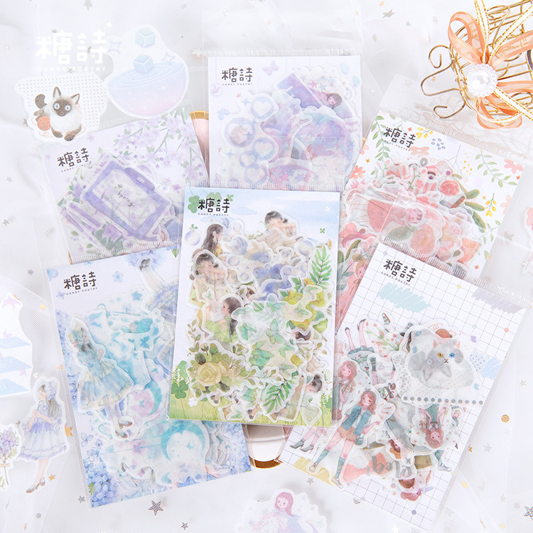 45pcs/pack Flowes Field Washi Paper Stationery Sticker Set Decorative Label For Scrapbooking Diary Album Notebook Journal Agenda
