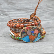 Chakra Bracelet Vintage Natural Stone Handmade Lava Beads Multilayer Leather Wrap Bracelets Bohemian Jewelry Evil Eye