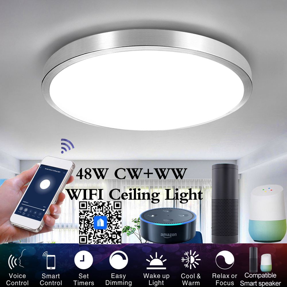 Smart LED Ceiling Lights WW+CW Dimmable APP Remote Control Modern WIFI Ceiling+lights Bedroom Lamps Smart WIFI Ceiling Light