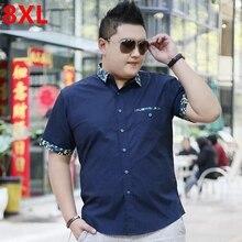 Roupa masculina plus size camisa de manga curta masculina tamanho grande camisa casual gordura verão manga curta básico 8xl 7xl 6xl