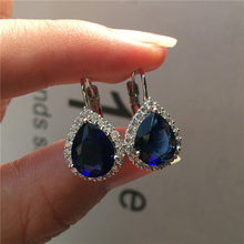 Luxury Female Small Teardrop Earrings Boho Silver Color Clip Earrings For Women Crystal White Blue Red Purple Earrings