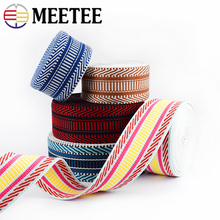 Meetee 3M 5cm Polyester Jacquard Webbing Tapes 2mm Thick Bag Strap Belt Lace Ribbons DIY Garment Textile Sewing Decor Material