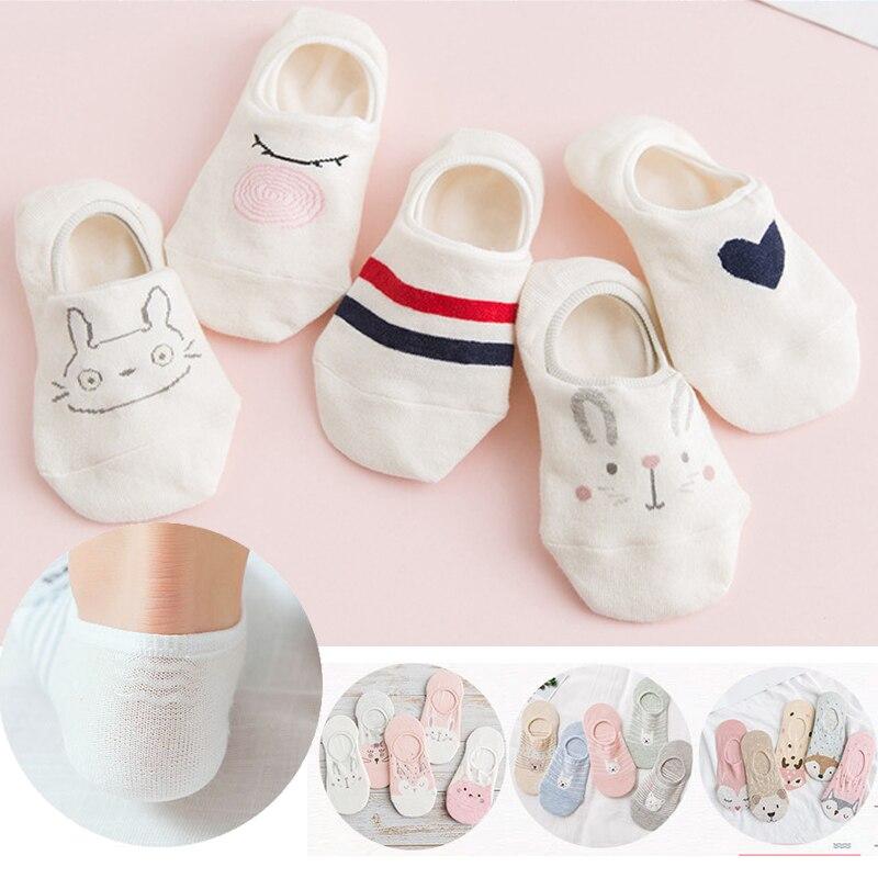 5Pairs New Harajuku Women Socks Funny Kawaii Animals Cute Happy Silicone Slip Invisible Cotton Sock Spring Socks Slippers 35-40
