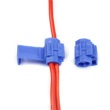 50Pcs Lock Wire Electrical Cable Connector Blue Insulated Qu