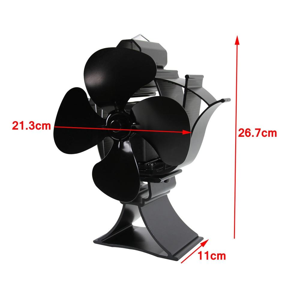 para Estufas de Madera Ventilador de 4 aspas para Chimenea Colgante zhoujinf Respetuoso con el Medio Ambiente Ventilador de Horno para una /óptima distribuci/ón del Aire de Aluminio