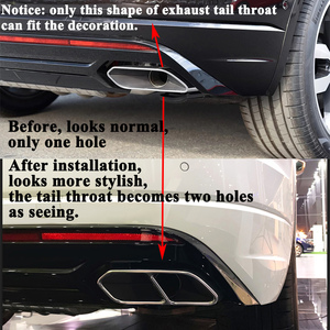 Image 2 - 2pcs/set Rear Car Exhaust Tail Throat Muffler Decoration Pipe Mouth Cover Accessories for VW Volkswagen Touareg 2019 2020 2021
