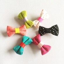 1Pcs/lot Boutique Children Girls Solid Mini Canvas Hair Clip Bows Barrettes Hairpins Accessories Bowknot Headwear