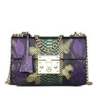 Роскошные дизайнерские сумки для женщин, 2020, Кожаный клатч с клапаном, кошелек на цепочке, змеиная кожа, женские сумки через плечо, сумка-мес...