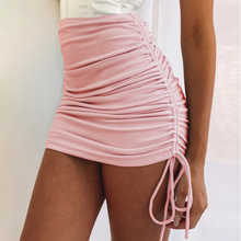 Adjustable Skirt Side-Drawstring Streetwear Summer Knitted-Thread Elastic Slim Sexy