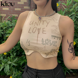 Kliou 2020 summer women o-neck letter print sleeveless short crop top sexy female tank tops cool streetwear club fitness outfits