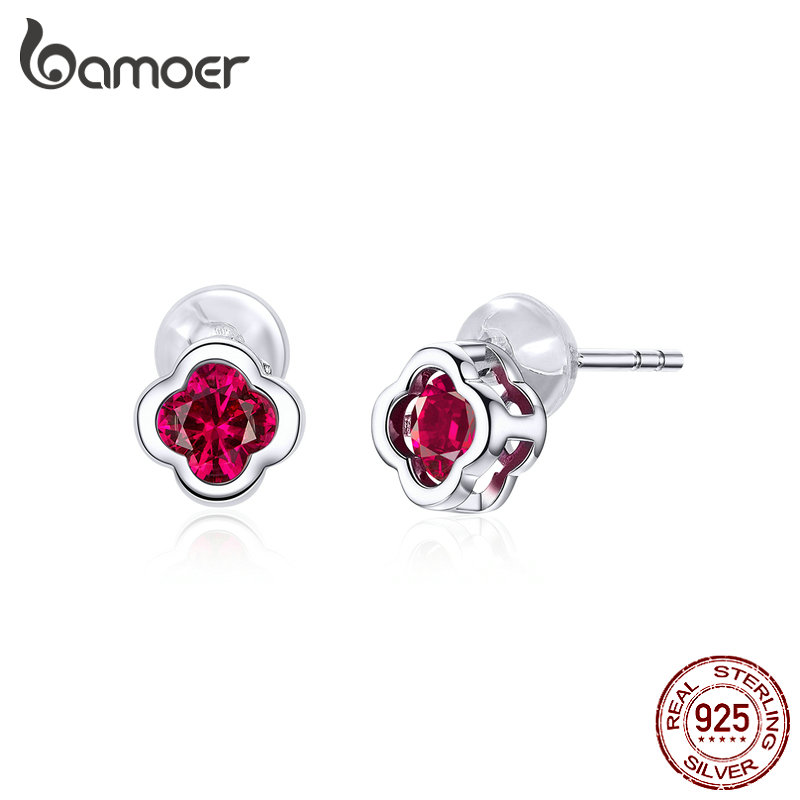 Bamoer 925 Sterling Silver Flower Stud Earrings For Women Wedding Engagement Statement Jewelry Red CZ Stone Brincos BSE318