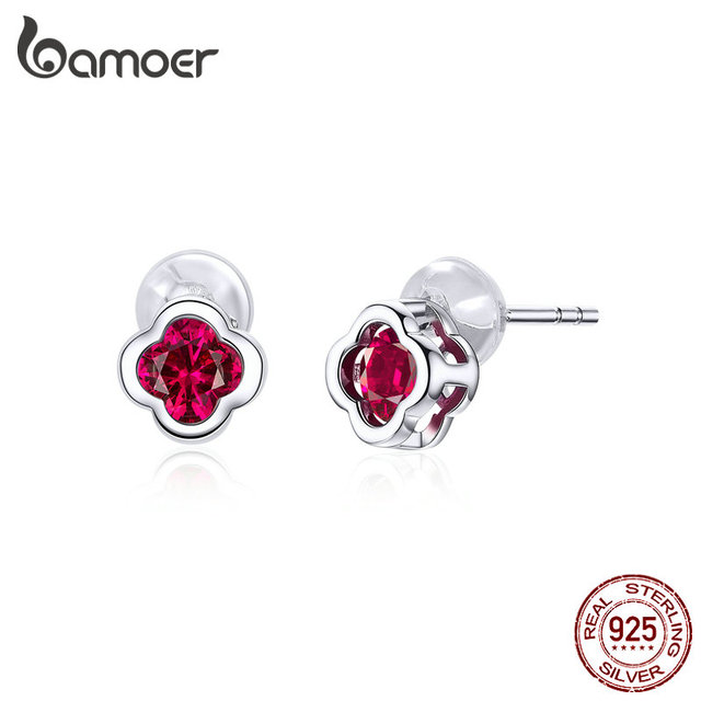 bamoer 925 Sterling Silver Flower Stud Earrings for Women Wedding Engagement Statement Jewelry Red CZ Stone.jpg 640x640 - bamoer 925 Sterling Silver Flower Stud Earrings for Women Wedding Engagement Statement Jewelry Red CZ Stone Brincos BSE318
