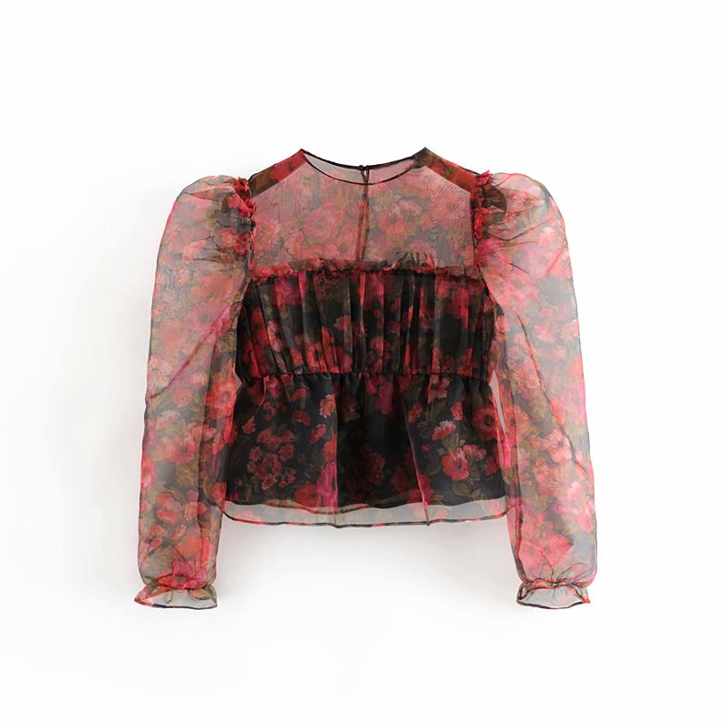 Vintage Chic Floral Print Organza Blouse 2019 Stylish Women Ruffles Ruched O-Neck Shirts Tops Casual Blusas Mujer