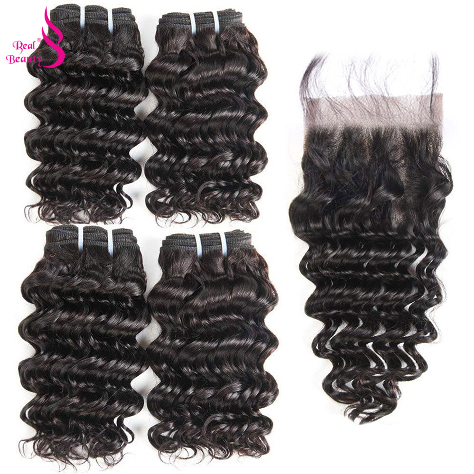 Real Beauty Brazilian Deep Wave 4 Bundles With Lace Closure Human Hair Bundles Deals Ocean Weave Remy Human Hair Extensions