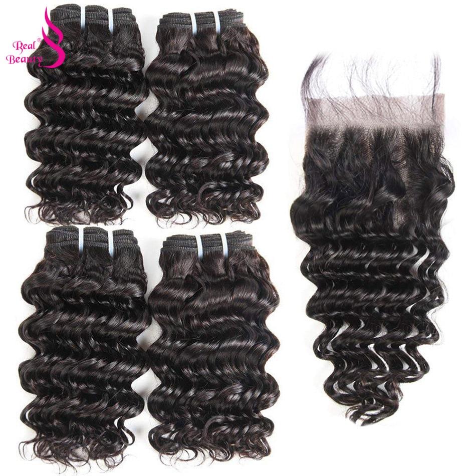 Real Beauty Brazilian Deep Wave 4 Bundles With Lace Closure Human Hair Bundles Deals Ocean Weave Remy Human Hair Extensions