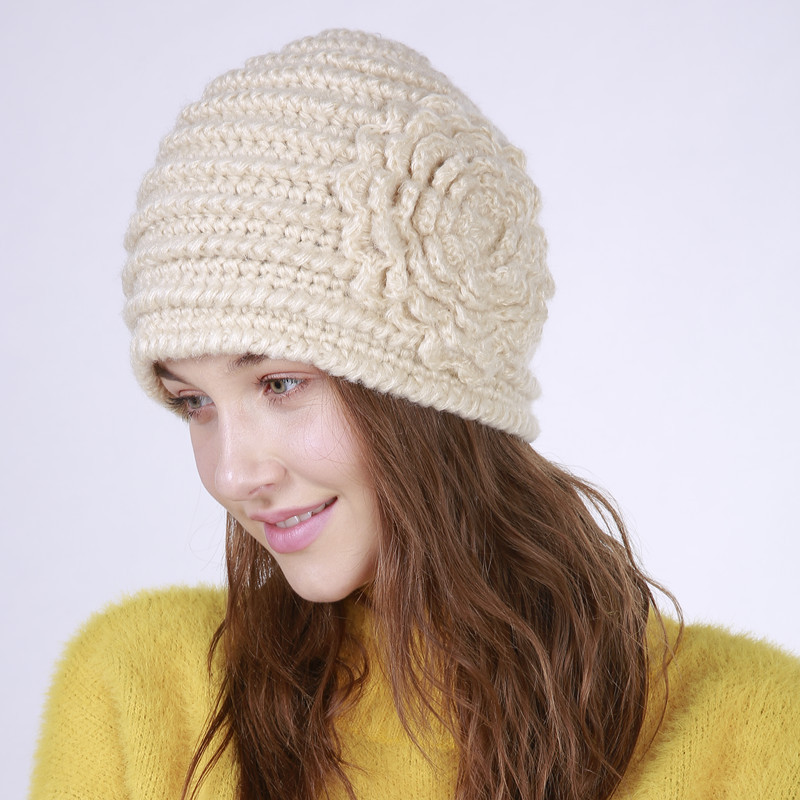 Sparsil Women Thick Warm Beanies Hat Solid Color Stripes Large Flower Caps Popular Hand-knitted Winter Autumn Fashion Wool Hats