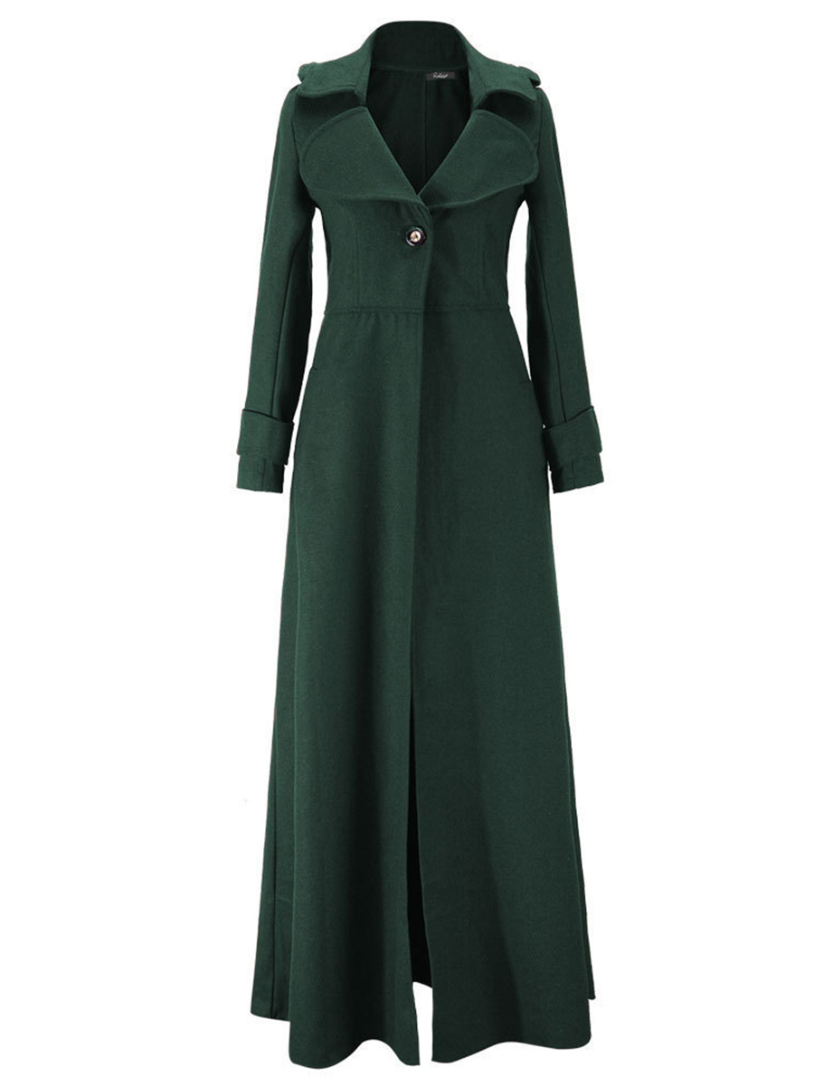 Women Plain Trench Coat Fall & Winter Basic Vintage Gothic Ankle Length Long Wool Overcoat Office Ladies Plus Size Outwear 2XL