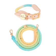 Hot Sale Pet Dog Multi-Function Hand-Woven Gradient Collar Necklace Outdoor Rope Dog Leash Round Cotton Dogs Lead Pet Products