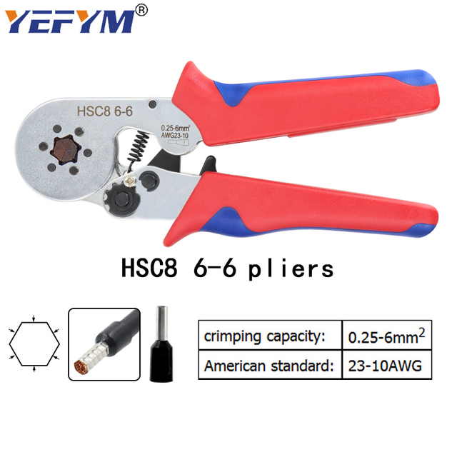 Tubular terminal crimping tools mini electrical pliers HSC8 10SA/6-4 0.25-10mm2 23-7AWG 6-6 0.25-6mm2 high precision clamp sets 3