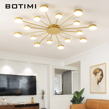 BOTIMI Novelty Metal Irregular Ceiling Lights For Foyer Black Ceiling Lamp Golden Surface Mounted Bedroom Lighting Fixture 1