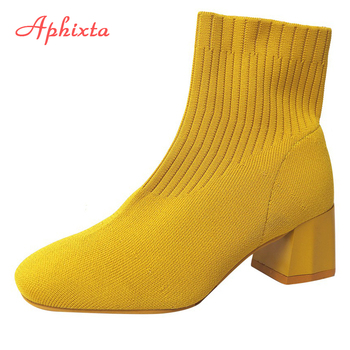 Aphixta Stretch Fabrics Sock Boots For Women Shoes 5.5cm Square Heel Yellow Knitting shoes Elastic Cottton Lady Footwear - discount item  30% OFF Women's Shoes