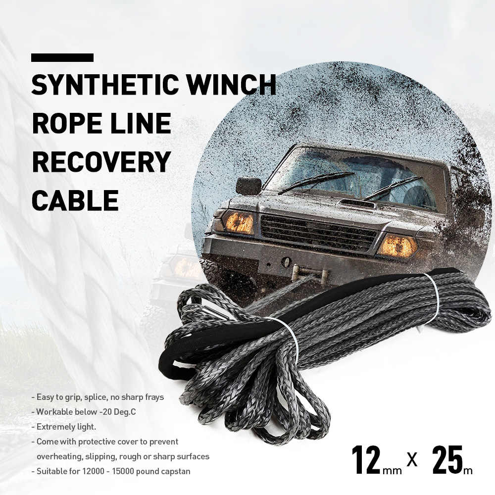 Original 12mm X 25m Synthetic Winch Rope Line Recovery Cable Towing Cable Lightable for 12000 - 15000 Pound Capstan