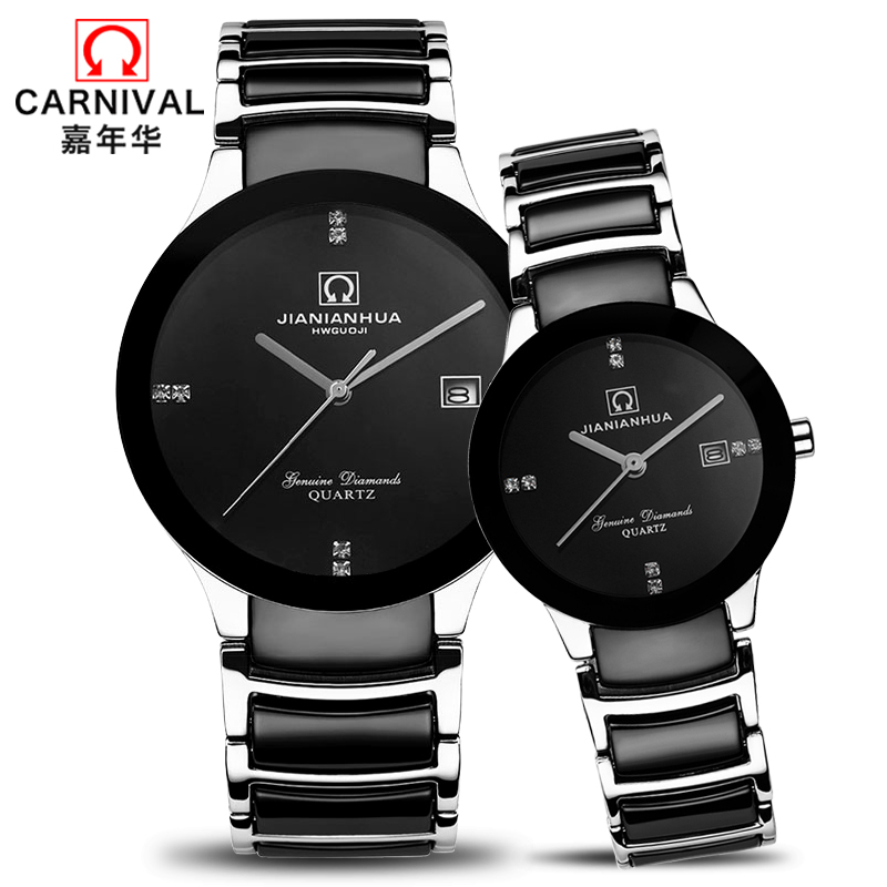Luxury Japan Quartz Movement Couple Watch CARNIVAL Fashion Ceramics Band Watches For Lovers Sapphire Calendar Waterproof Relogio