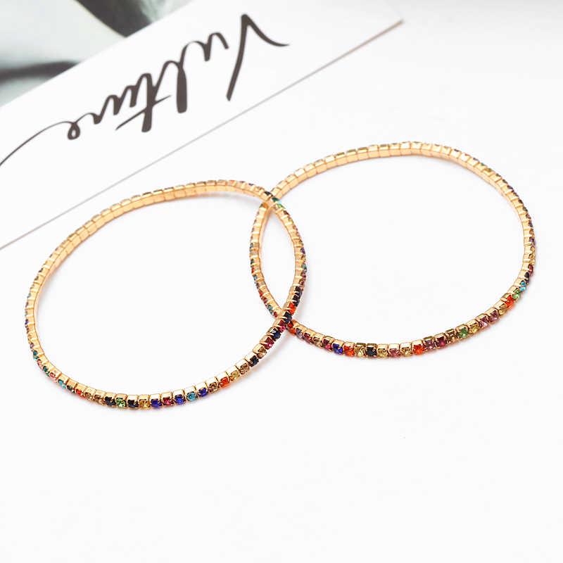 2 Pcs/set Logam Gelang untuk Wanita 2019 Berlian Imitasi Bohemian Gelang Gelang Perhiasan untuk Pesta Persahabatan Gelang Aksesoris