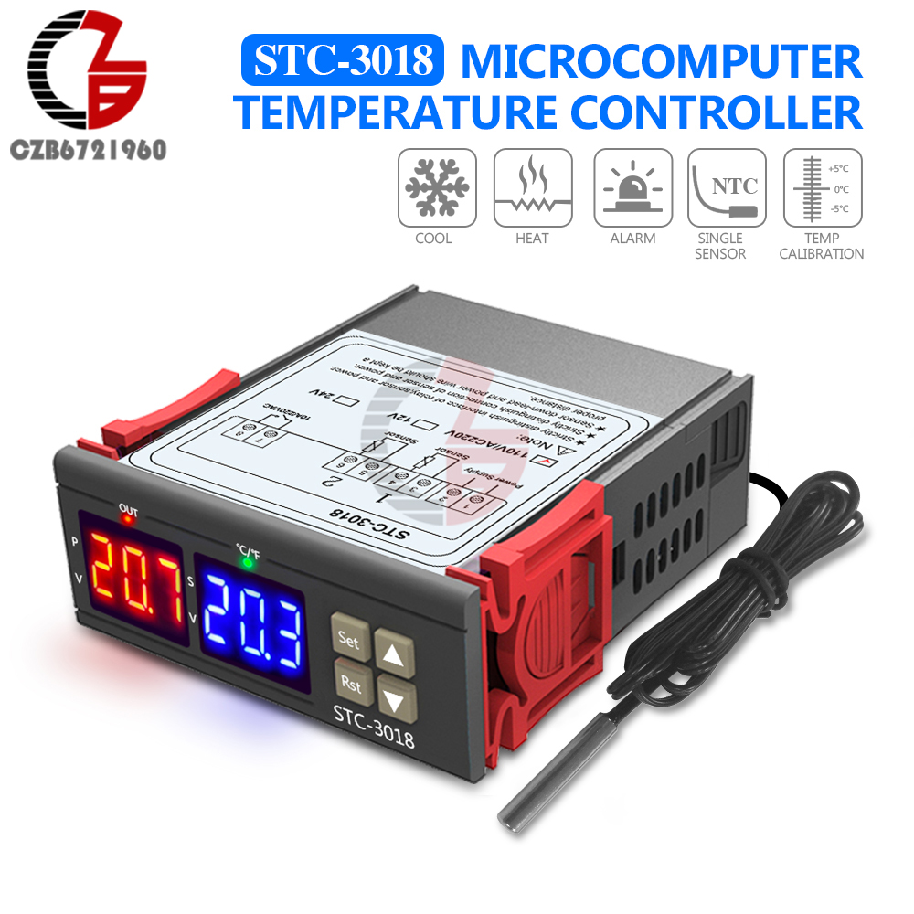 STC-3018 AC 110V-220V Digital Temperature Controller Thermostat Thermometer Indoor Outdoor Temperature Calibration Red Blue LED