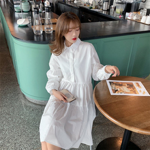 Colorfaith New 2020 Women Summer Shirt Dresses Casual Loose High Waist Fashionable Irregular Pleated Wild White Dress DR1170