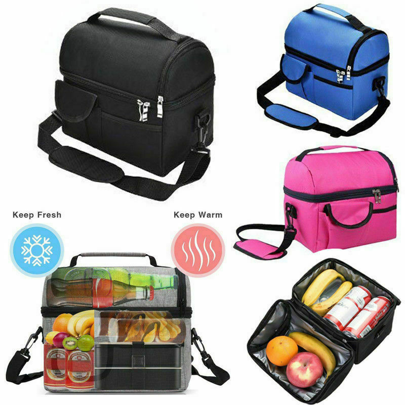 Insulated Lunch Bag Box Cooler For Men & Women Heavy Duty Oxford Nylon-Black