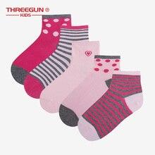 THREEGUN X Disney Kids 5PCS Girls Socks Spring Summer Cute Cotton Breathable Elastic Toddler Girls Socks цена