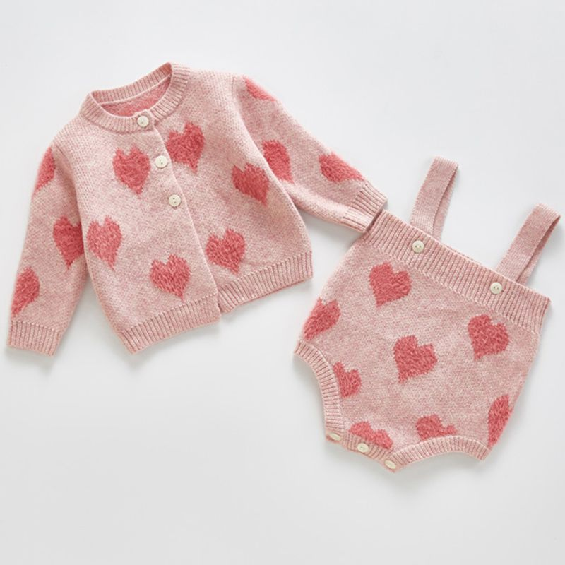 Warm Baby Girls Clothes Autumn Baby Knitted Romper Set Infant Newborn Baby Girl Cardigan Boys Sweater Cotton Baby Jumpsuit