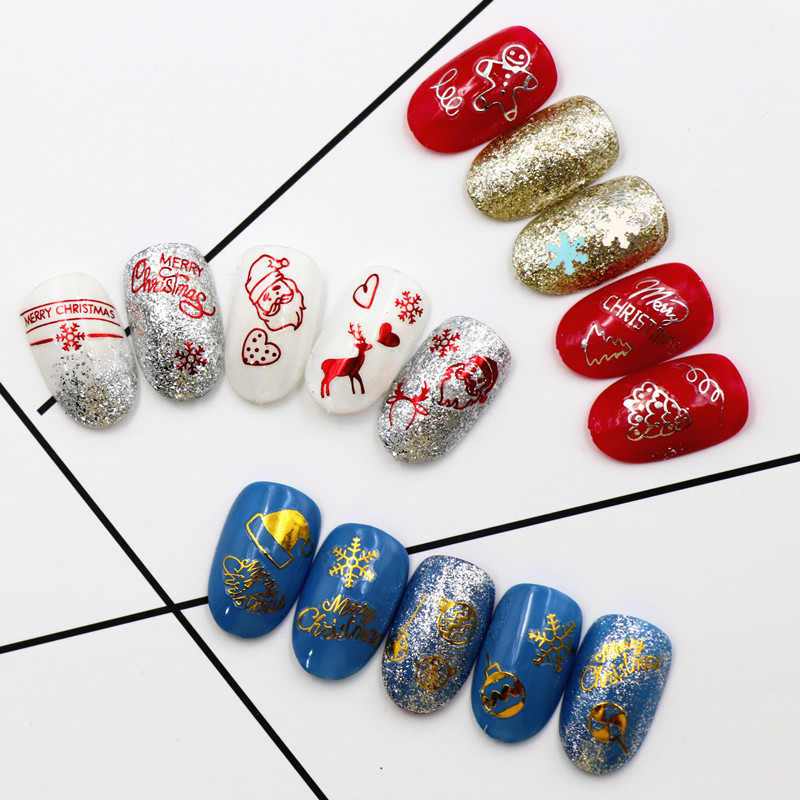Image 3 - new Fashion 3D Nail Decals Santa Claus White /gold /red Back Glue laser Christmas tree nail art decal  DIY-in Stickers & Decals from Beauty & Health