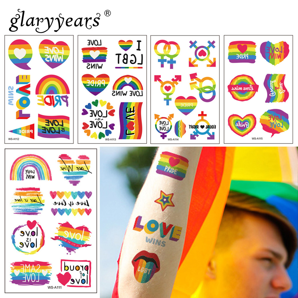 Glaryyears 1 Sheet Temporary Tattoo Sticker Rainbow Pattern Flash Waterproof  Pride Day Fashion Small Body Art Men Women Child