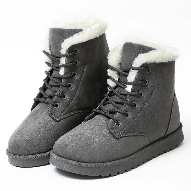Frauen Stiefel Winter Warm Schnee Stiefel Frauen Faux Wildleder Ankle Stiefel Für Weibliche Winter Schuhe Botas Mujer Plüsch Schuhe Frau