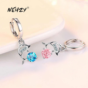 NEHZY 925 sterling silver new women's fashion jewelry earrings blue crystal pink zircon dolphin long tassel retro earrings
